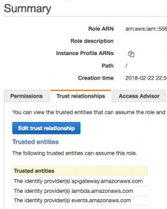 Trust relationships for lambda